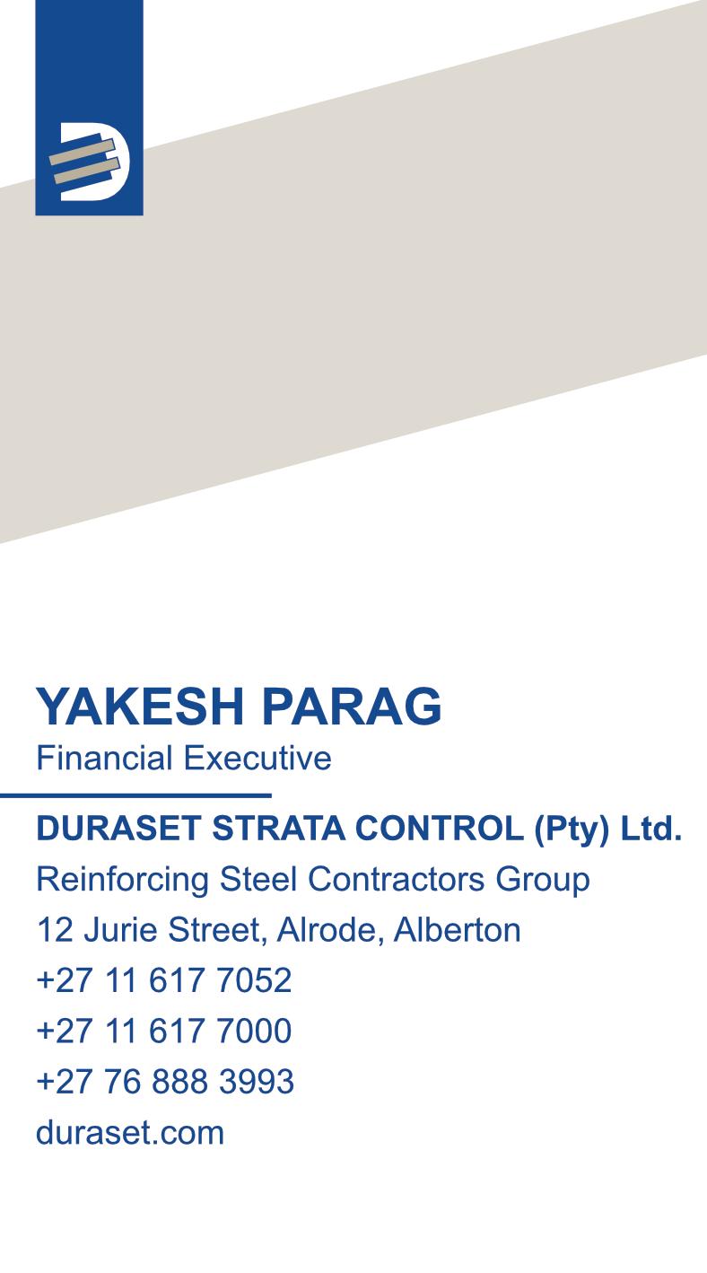 Duraset Strata Control – Business Card – Back